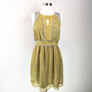 Esley Yellow Gray Leppard Print Summer Dress Size